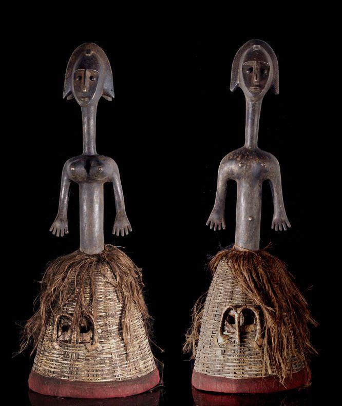 Two Bamana Sogo Bo metal marionettes surmounted on baskets, Central Segou region