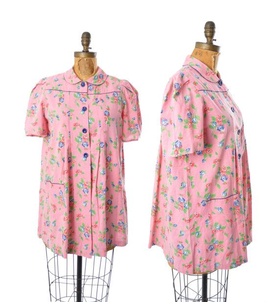 1940s blouse / pink floral smock top / 40s by teastreetvintage