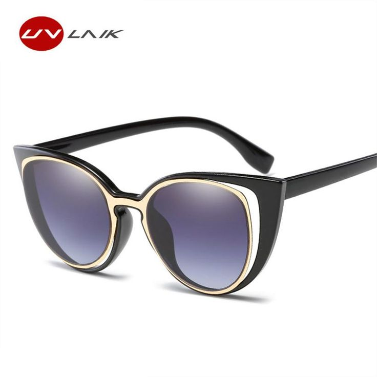 UVLAIK Fashion Ladies Cat Eye Sunglasses Women Brand Designer Retro Female Pierced feminino UV400 0608