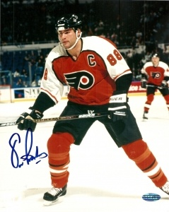 Eric Lindros #88 - Former Philadelphia Flyers Captain. Eric Lindros was a regular customer at the store where I worked. One time he jokingly grabbed my hand. I almost passed out. You couldn't ask for a nicer guy. Let's GO FLYERS! Miss you E.L.