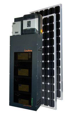 Conshome : l'autoconsommation photovoltaïque simplifiée. Les Kits ConsHome se composent de:  Modules photovoltaïques polycristallins AL250 d'une puissance unitaire de 250 Wc Un régulateur MPPT Un stockage d'énergie avec 4 batteries GEL Un onduleur Des protections électriques