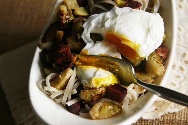 Roasted Veggies and Rice Noodles with Poached Egg | Recipe