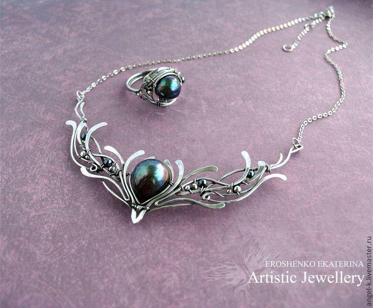 """Купить серебряное кольцо """"Лебединое озеро"""" с жемчугом - авторские украшения, украшения ручной работы"""