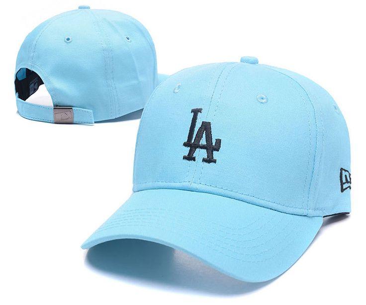 Men's / Women's Los Angeles Dodgers New Era Basic Team Logo Embroidery Adjustable Baseball Hat - Lightblue / Black