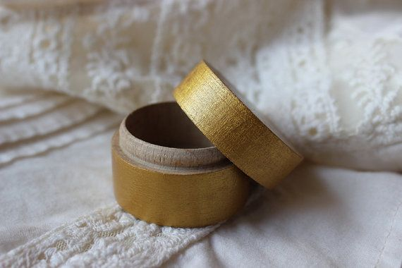 Wood ring bearer box / little gold box /  hand by NeliStudio