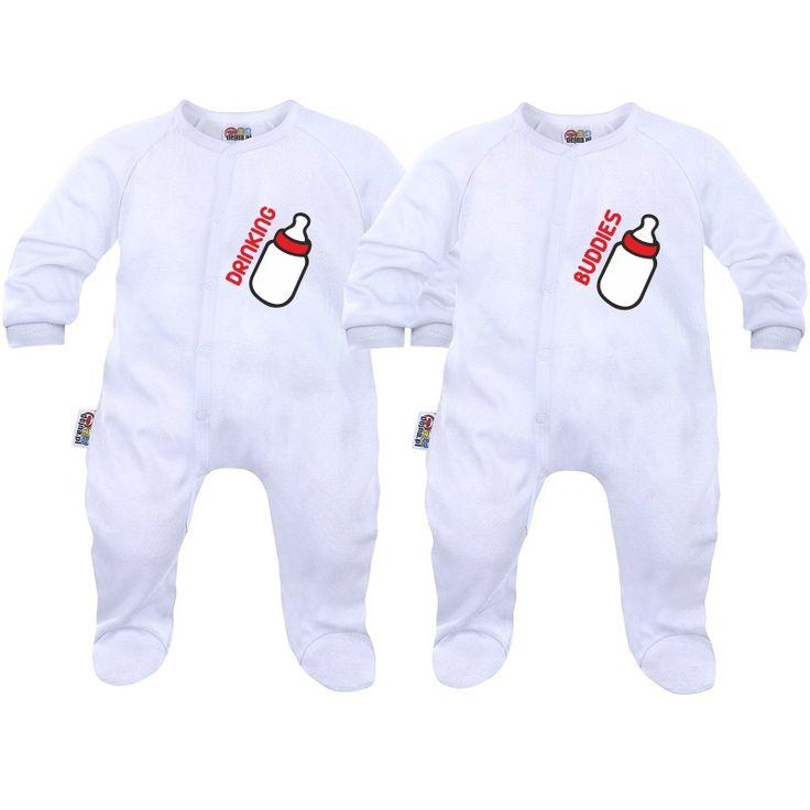 2 pyjamas bébé jumeaux: drinking buddies - Pyjamas bébé - SiMedio