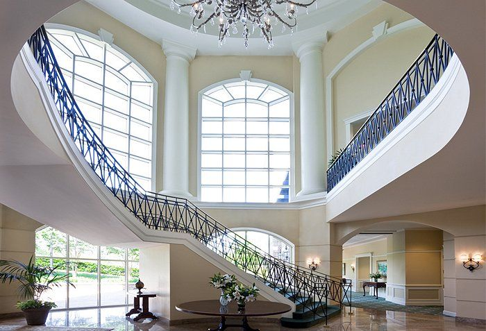 Get a load of the gorgeous staircase in Charlotte, North Carolina's Ballantyne hotel. #lcroadtrip