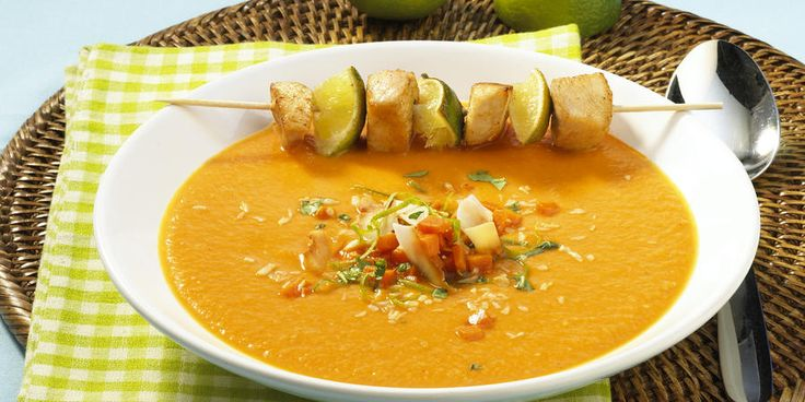Recipe for Jamaican Pumpkin Soup With Chicken Skewer
