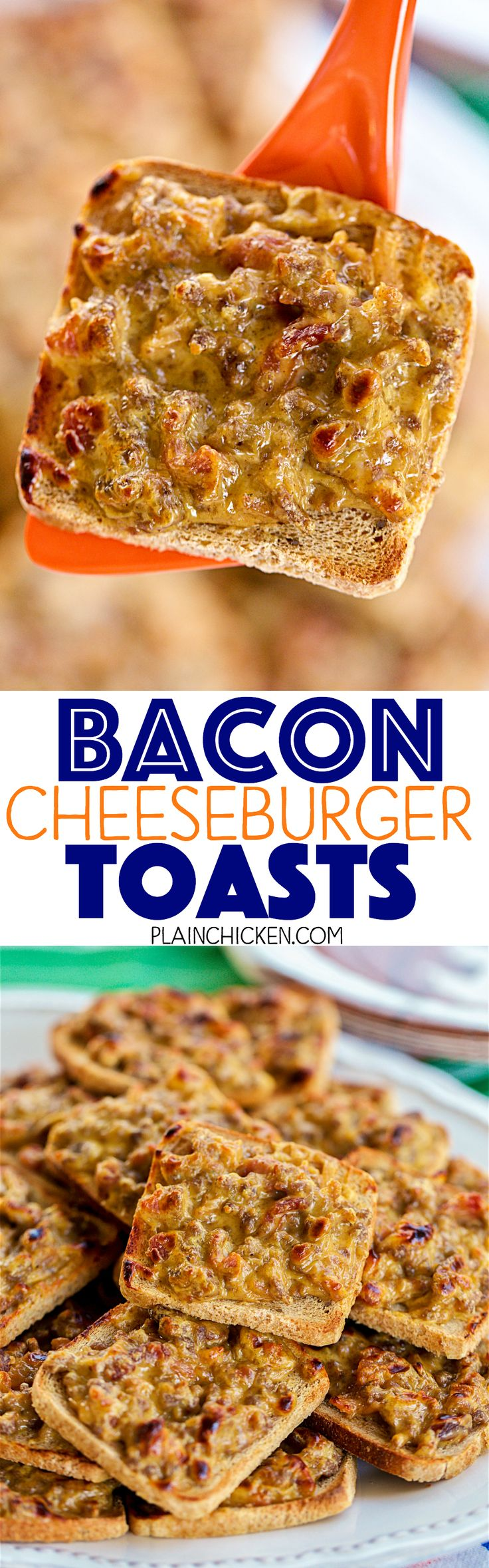 Bacon Cheeseburger Toasts - SO good!!! We love these for parties and a quick lunch or dinner. Only 5 ingredients and ready in minutes! Hamburger, bacon, worcestershire sauce and Velveeta cheese on top of party rye bread. YUM! Can make ahead and freeze for later. I always have a batch in the freezer. SO quick, easy and delicious!!! EVERYONE LOVES these!!!