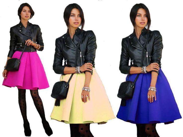 Midi Spodniczka Rozkloszowana Spodnica Z Kola J304 Fashion Style Skater Skirt