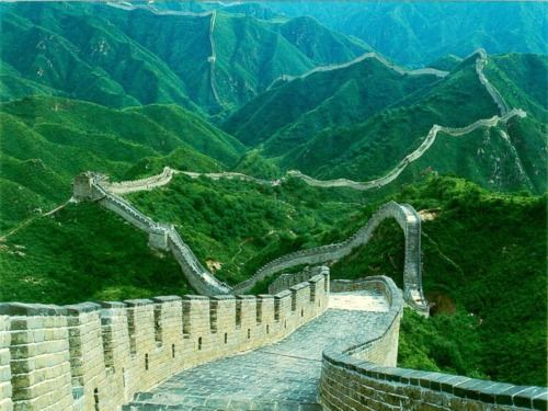 Great Wall of China  An incredible picture of the surrounding mountains.