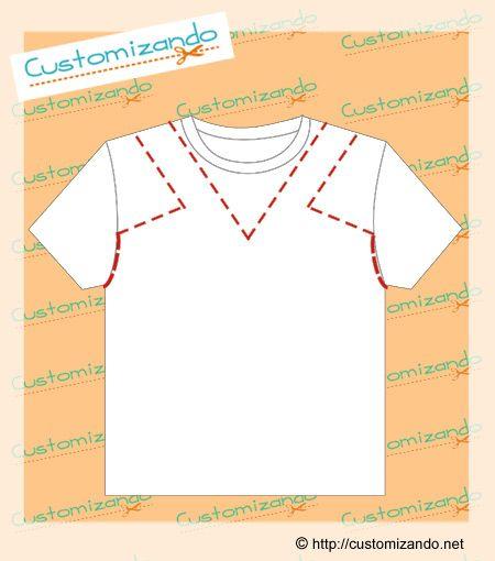 cortes de customização de camiseta(Diy Ropa Camisetas)