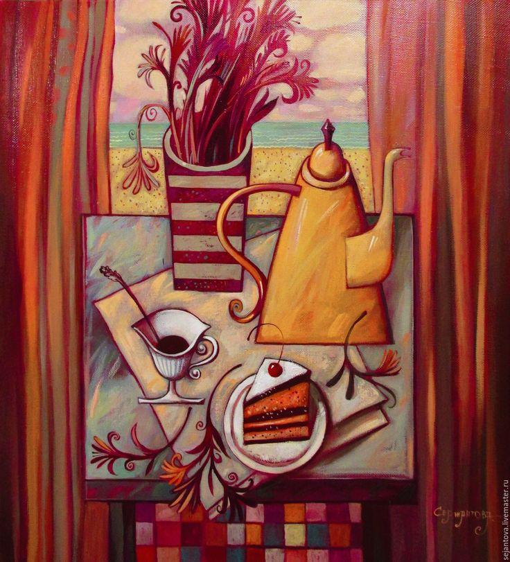 Купить ДЕНЬ РОЖДЕНИЯ В ИЮЛЕ - оранжевый, картина в подарок, картина маслом, картина для интерьера