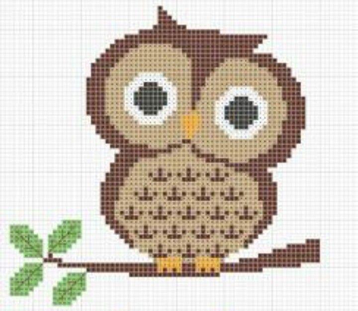 Cute owl, easy cross stitch pattern!