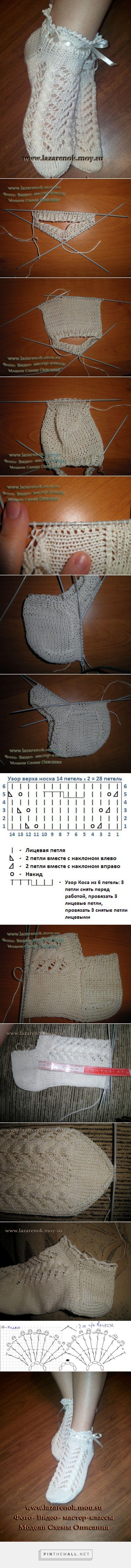 Russian Lace & Cable Anklets Step by Step (Long & detailed!) Picture Tutorial ~~ http://searchmasterclass.net/vjazanie-krjuchkom/250034-vjazanie-krjuchkom-azhurnye-nosochki.html