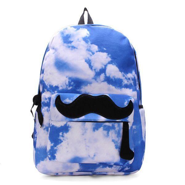 Unisex canvas sky moustache galaxy backpack travel rucksack school bag backpack vacuum #40l #backpack #backpack #organizer #insert #backpack #vacuum #cleaner #backpack #yosemite