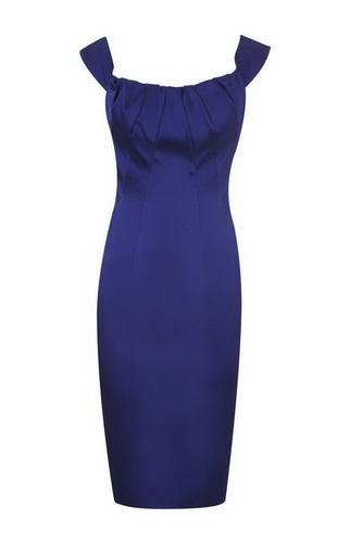 Karen Millen Satin Pencil Dress Blue