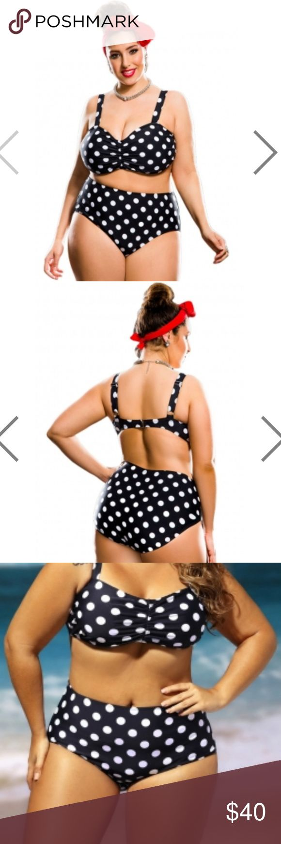Polka Dot Plus Size High Waist Bikini Swimsuit Looking for a plus size bikini that will give you a va-va-voom vintage glam look. This is it! The sweetheart neckline creates a sexy decolletage while the polka dot print or in solid color keeps it flirty.  Absolutely stunning with the matching bottom features high waist, black white polka dot print or in solid color, perfect enough to give the va-va-voom vintage glam look you've been searching for. No underwire, with detachable bra pads. Real…