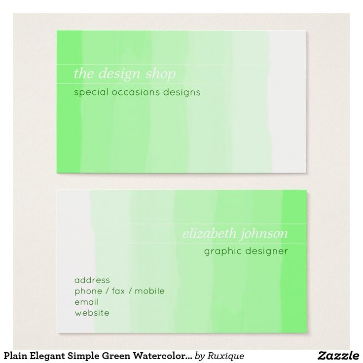 Plain Elegant Simple Green Watercolor Pastel Business Card