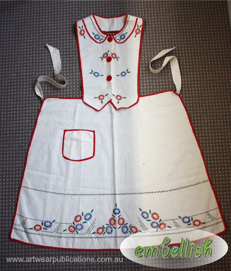 This vintage apron appeared in an article in Vintage Made issue 2, as well as a project (including pattern) on how to create your own in Embellish issue 16 (http://artwearpublications.com.au/back-issues/back-issue-embellish-16.html)