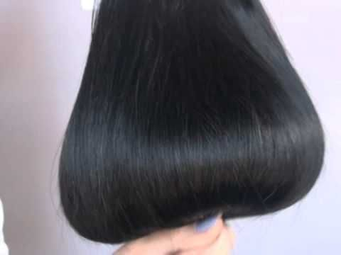http://hairself.pl/pl/p/Czarny-1/104  Human hair clip-in extensions REMY - black color presentation VIDEO