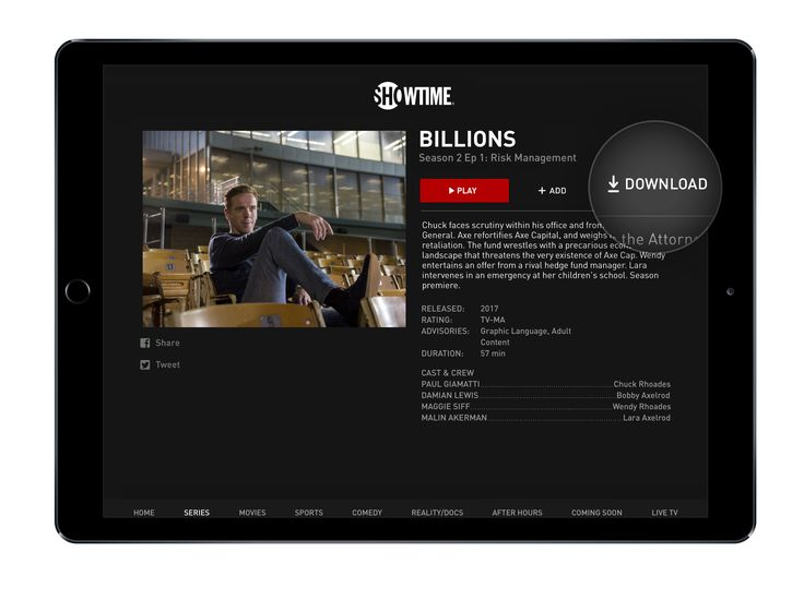 Showtime's streaming apps can download video for offline viewing