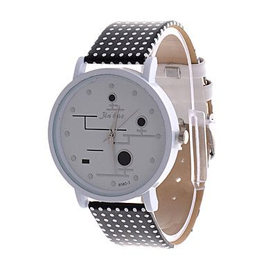 Women's Cute Round Dial White PU Band Analog Quartz Wrist Watch – AUD $ 8.64