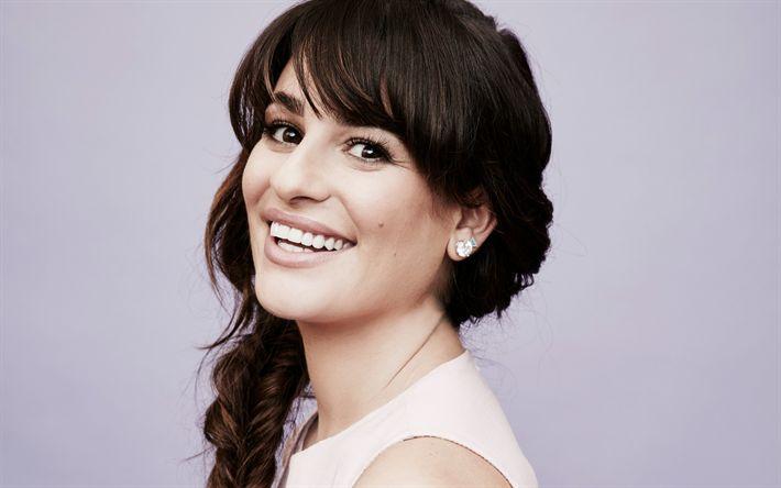 Scarica sfondi Lea Michele, ritratto, attrice americana, sorridere, bruna, bella donna, bianco come la neve sorriso
