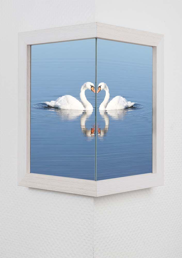 Mira Um-die-Ecke-Rahmen 1:1, schmal 2x 10x15 cm - Cremeweiß | AllesRahmen.de