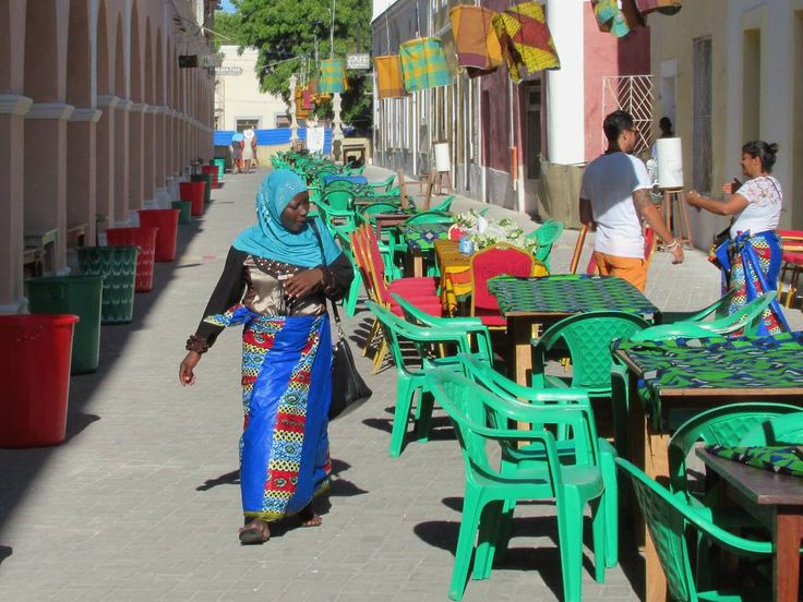 A section of Avenida Amilcar Cabral on Mozambique Island is a pedestrian promenade.