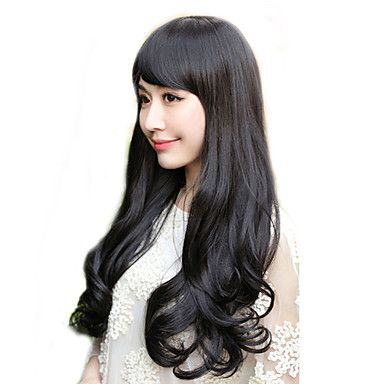 Side Bangs Long Curly Hair Wig(Natural Black)