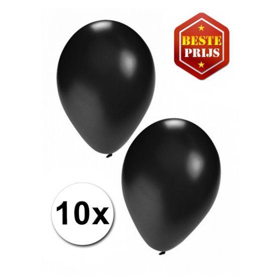 Foliezakje met daarin 10 zwarte ballonnen. De ballonnen zijn opgeblazen ca. 27 cm groot en zijn geschikt om te vullen met lucht of helium.
