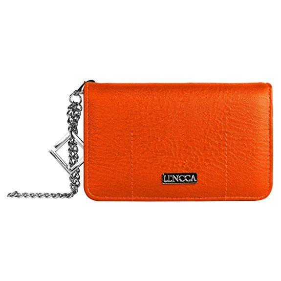 Lencca Kymira Desigual Donna Custodia a portafoglio borsa Borsette da polso adatta Cellulari e Smartphone (Arancio)