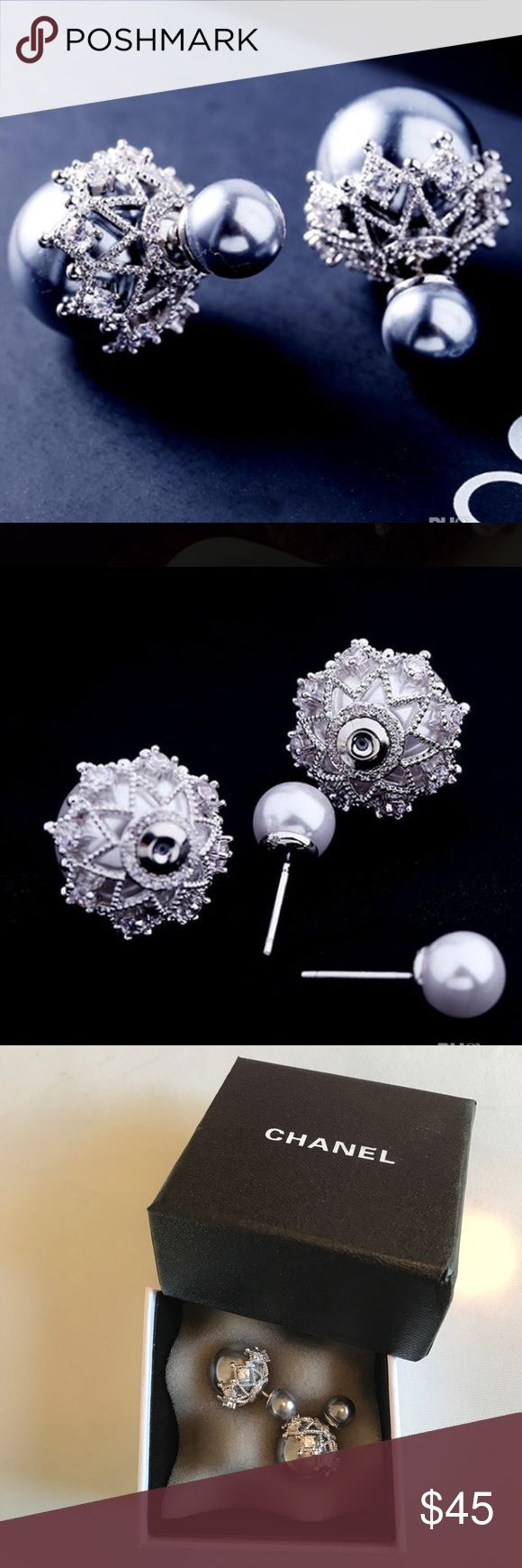 Dior tribal pearl style diamond earrings new very pretty earrings in chanel box very high quality no box dior jewelry earrings