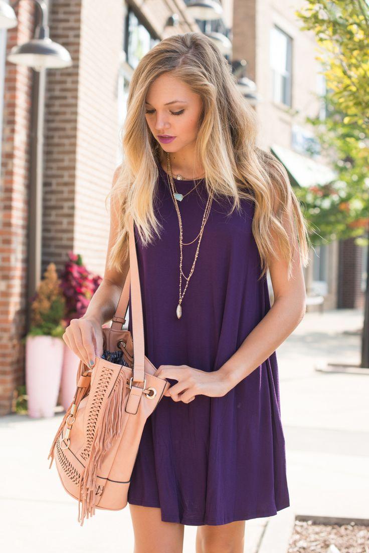 Purple t shirt dress #swoonboutique