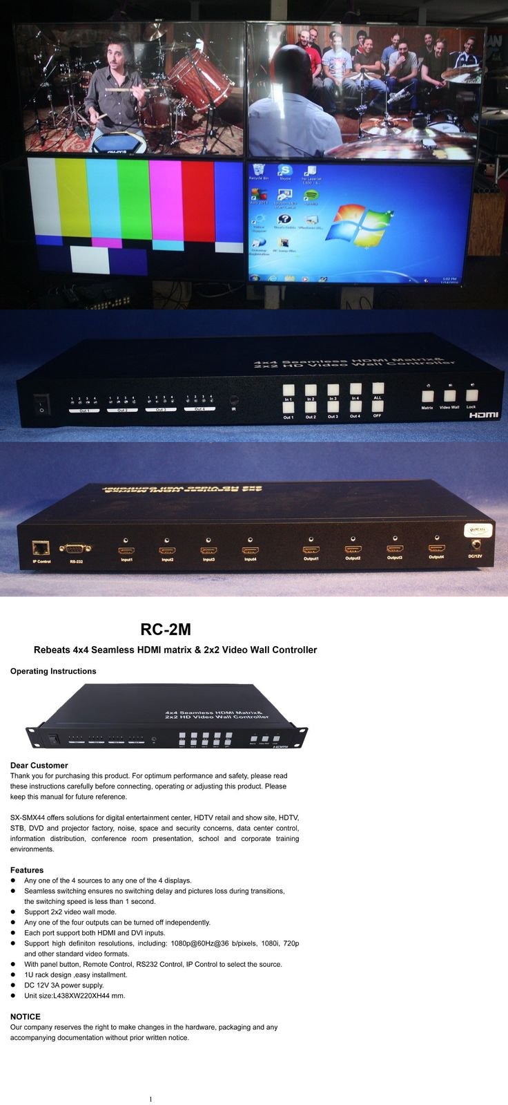 Other TV Video and Audio Parts: Rebeats Rc-2M 2X2 Video Wall Controller With 4 Inputs, Matrix Unit -> BUY IT NOW ONLY: $599.0 on eBay!