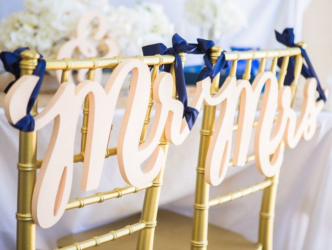"Wedding Chair Decor Covers Signs: This gorge ""Mr & Mrs"" wedding chair sign set is cut from wood then painted in your choice of color to perfectly match your wedding theme. Grab it here"