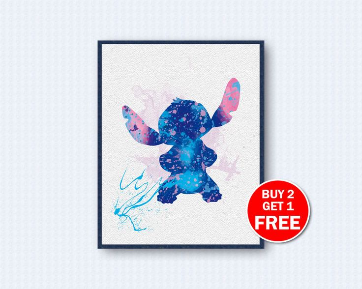 Stitch Poster, Stitch Watercolor, Lilo & Stitch Movie Poster, Lilo Watercolor, Movie Watercolor, Watercolor Art, Wall Decor, Home Decor by TheWoodenKat on Etsy