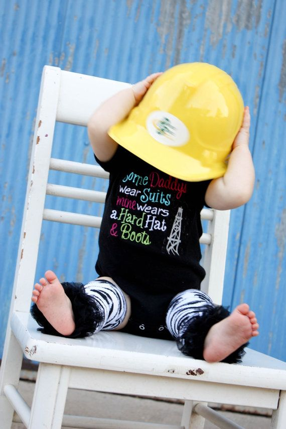 Oilfield daddy bib and hard hat and boots by sewsosweetdesigns, $36.00