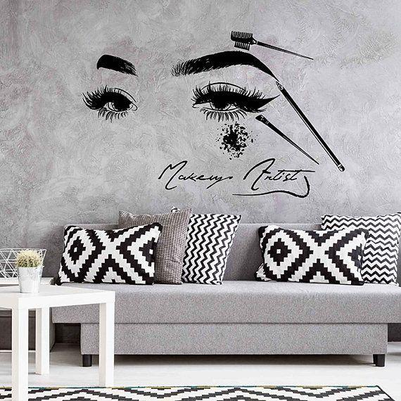 eyes wall decals eyelashes wall sticker beauty salon tools make up