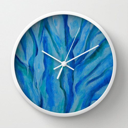 Blue wall clock unique abstract painting Tree in by NewCreatioNZ, $45.00