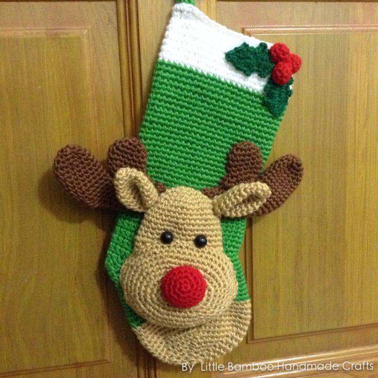 PATTERN - Reindeer Christmas Stocking - Crochet Pattern, pdf by LittleBambooHandmade on Etsy