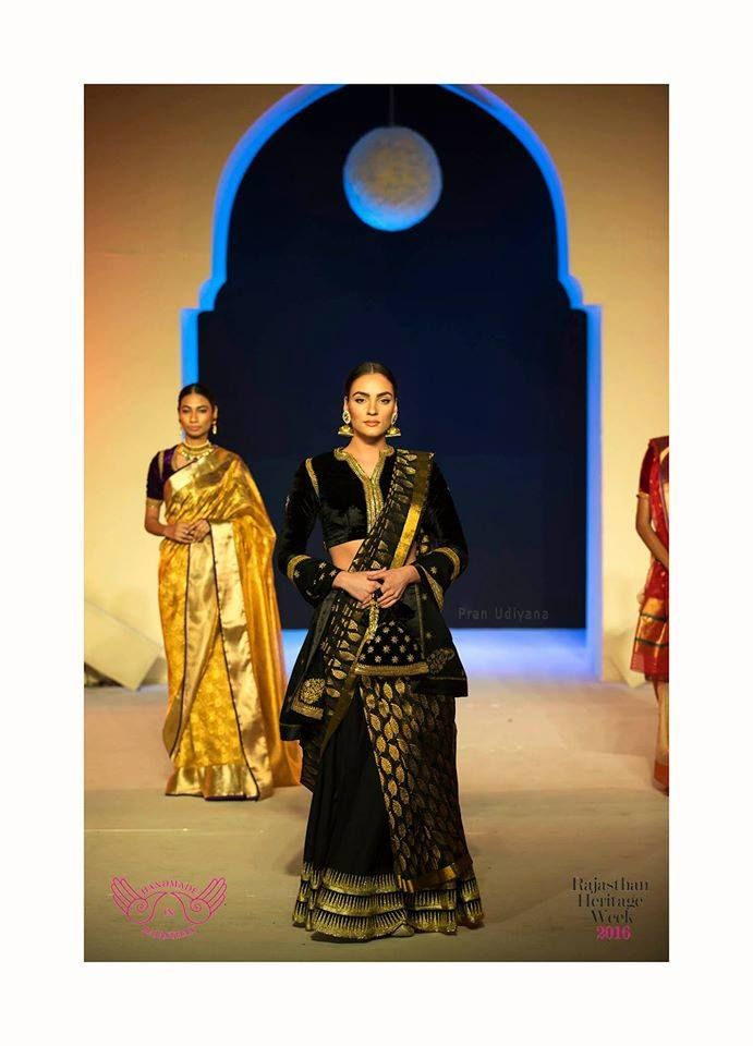 Mharo Des Collection - Again a simple black Kota skirt draped with this beutiful black kota saree matched perfectly with the black velvet blouse. Designer Vidhi Singhania