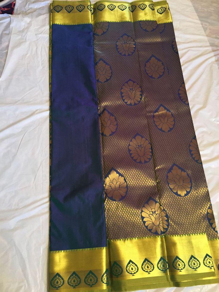 Pure silk saree from Kanchipuram - Blue