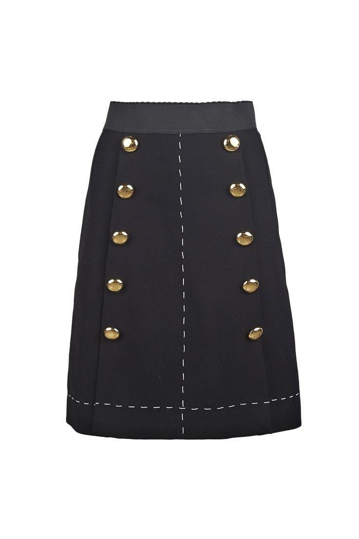 Saia Dolce & Gabbana em lã virgem com cintura elástica, botões dourados…