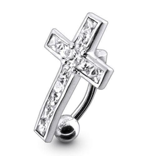 Navel Dangling Silver Belly Rings Piercing Jewelry Diamond Cl Stylish Dangling Crucifix 925 Silver with 14g-3/8 Inch 316l Steel Curved Barbell Belly Button Piercing Rings Dangling Silver Belly Rings, www.amazon.com/...