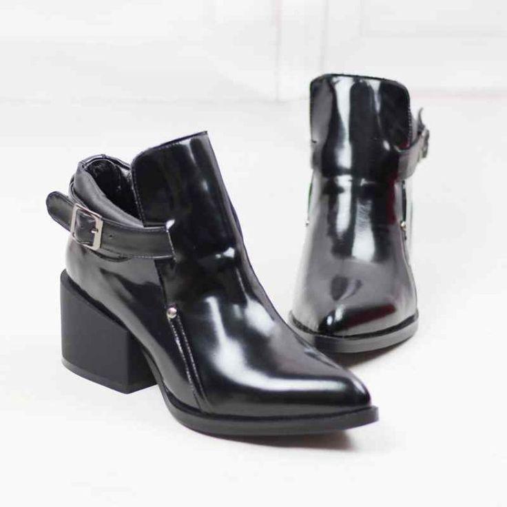 ZZYJ natuurlijke lederen enkellaars vrouwen Britse stijl grote maat Vrouwelijke herfst winter gesp dikke hakken schoenen in    als je ooit gegeven business tweemaal en meernegatieve feedback en open geschil, dan nietkopen, wanneer wij uw  van Enkellaarsjes op AliExpress.com   Alibaba Groep