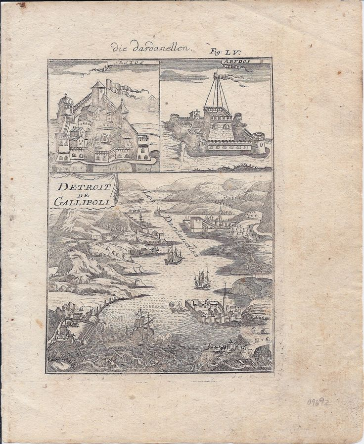 Detroit De Gallipoli Die Dardanellen. [Bidseye View Of The Dardenelles With Insets Of The Fortresses Of Sestos And Abydos], German Allain Manesson Mallet (Published: 1719 Frankfurt/M)
