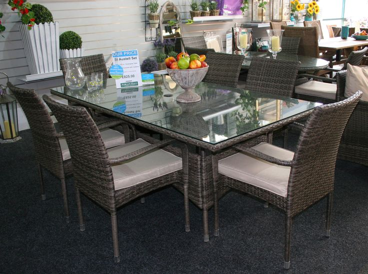 The St Austell set is a rattan style table and 6 chairs. It would look fabulous in any garden!