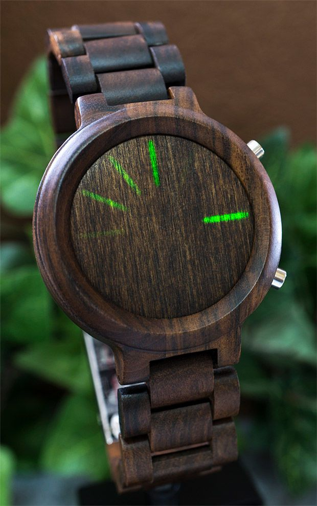 Wooden LED Watches - This Tokyoflash Kisai Blade Wood Link LED Watch Offers Bluetooth Connectivity (VIDEO)